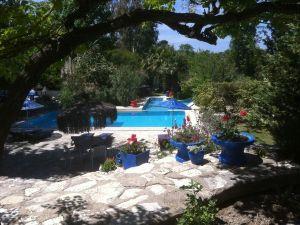 zwembad met tuin en parrasol
